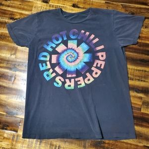 RHCP Psychedelic Tie Dyed Swirl Logo Band Tshirt